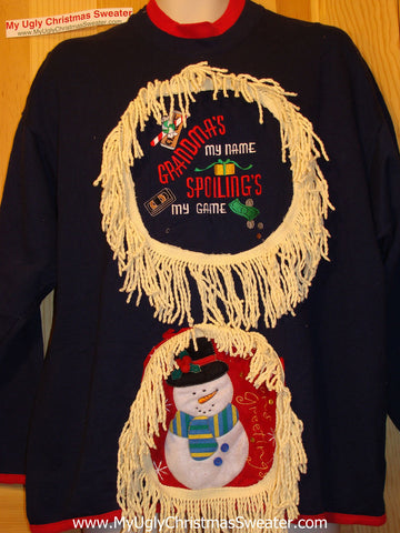 Ugly Christmas Tacky Sweatshirt Grandma Theme with Fringe (q39)