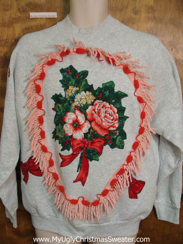 Horrible Floral 80s Funny Novelty Christmas Sweatshirt