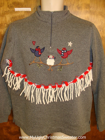 Two Birds and a Snowman Funny Novelty Christmas Sweatshirt