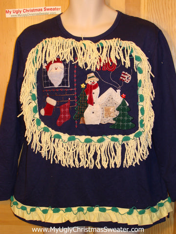 Ugly Christmas Tacky Sweatshirt Santa with Fringe (q40)