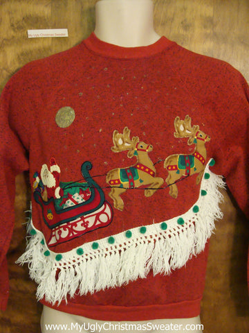 Santa and Flying Reindeer Funny Novelty Christmas Sweatshirt