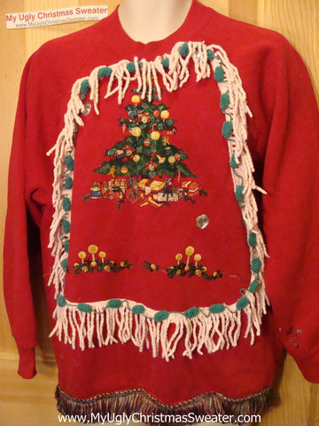 Ugly Christmas Tacky Sweatshirt Tree with Fringe (q41)