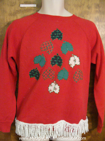 Tacky Plaid Crafty Tree Funny Novelty Christmas Sweatshirt