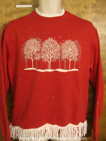 Forest of Snowy Trees Funny Novelty Christmas Sweatshirt
