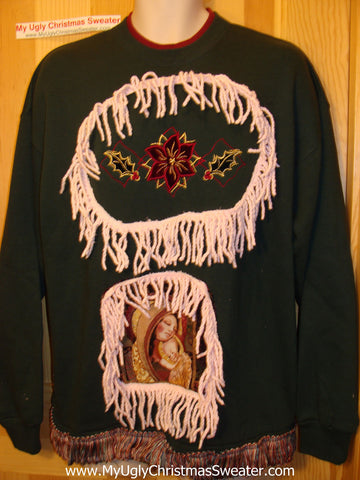 Christmas Tacky Sweatshirt Mary & Jesus & a Poinsettia &  Fringe (q42)