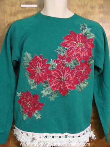 Homemade 80s Poinsettias Funny Novelty Christmas Sweatshirt