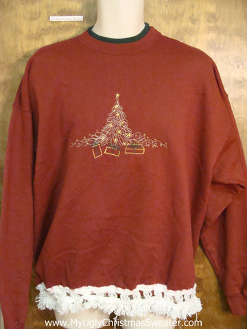 Red Tacky Funny Novelty Christmas Sweatshirt with a Tree