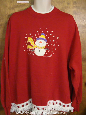 Funny Snowman in a Storm Novelty Christmas Sweatshirt