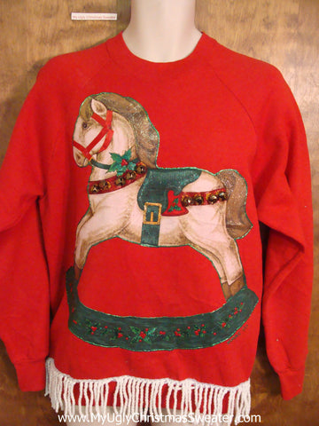 BEST 80s Rocking Horse Funny Novelty Christmas Sweatshirt