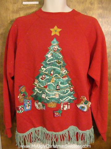 Retro 80s Tree Funny Novelty Christmas Sweatshirt