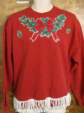 Horrible 80s Homecrafted Red Funny Novelty Christmas Sweatshirt