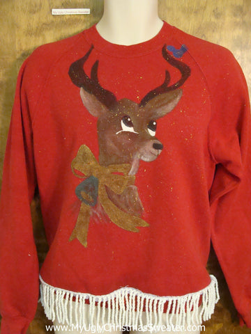 Horrible 80s Homecrafted Reindeer Funny Novelty Christmas Sweatshirt