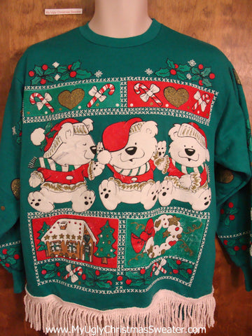 Teddy Bear Trio 80s Funny Novelty Christmas Sweatshirt