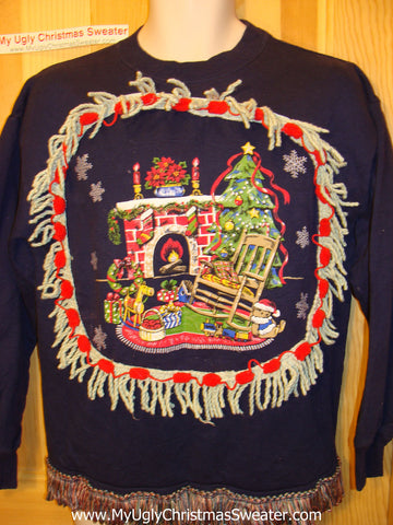 Ugly Christmas Tacky Sweatshirt Homey Fireplace Scene with Fringe (q44)