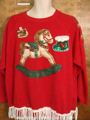 Funny 80s Rocking Horse Home Crafted Ugly Christmas Sweatshirt