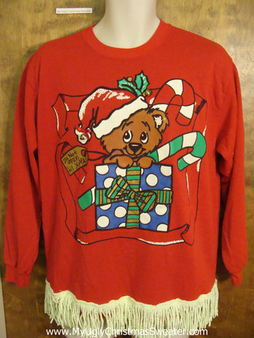 Cute Teddy Bear with Candycane Funny Christmas Sweatshirt