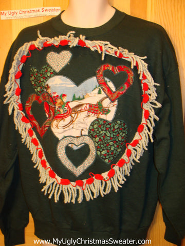 Christmas Tacky Sweatshirt Crafty 80's Hearts & Fringe (q45)