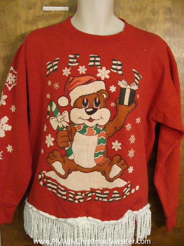 TWO SIDED Christmas and New Year 80s Bear Sweatshirt