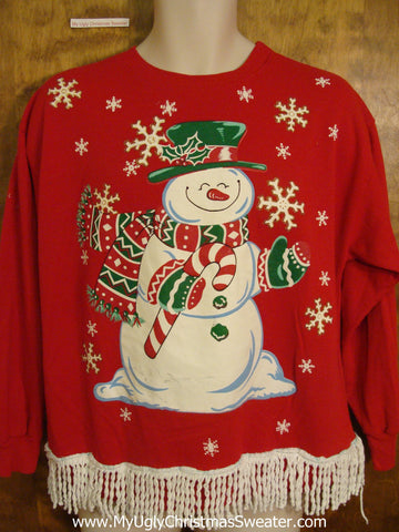 Huge Snowman 80s Retro Funny Novelty Christmas Sweatshirt