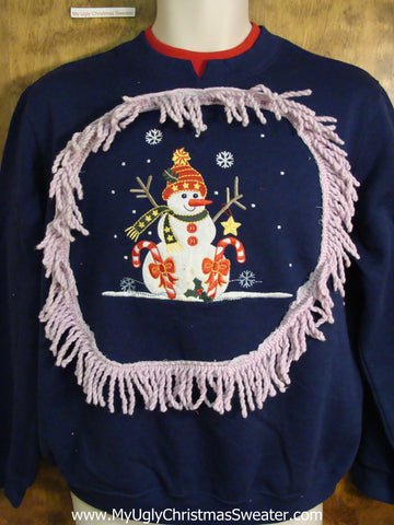 Funny Blue Christmas Sweatshirt Stick Arm Snowman