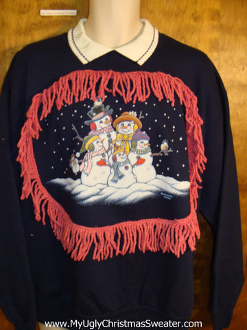 Funny Christmas Sweatshirt with Snowman Family and Fringe