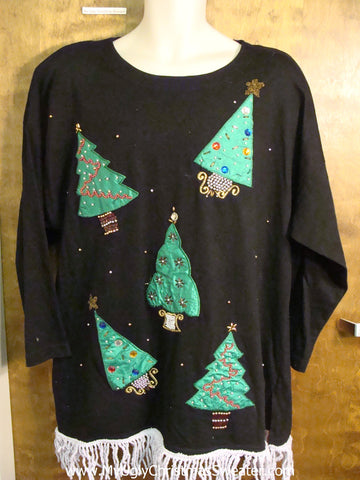 Big Size Longsleeved Tshirt with Trees Funny Christmas Pullover