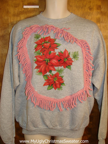 Homemade 80s Poinsettia Themed Funny Christmas Sweatshirt