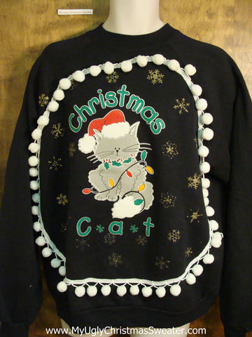 CHRISTMAS CAT 80s Funny Christmas Sweatshirt with Pompoms