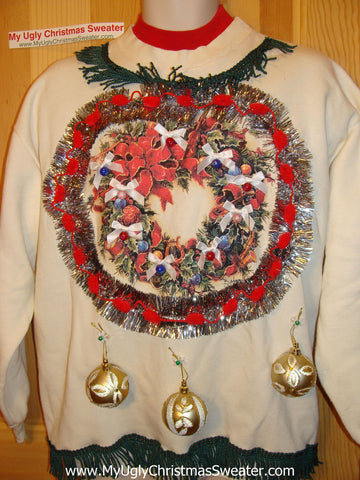 Ugly Christmas Tacky Sweatshirt 3D Ornaments & Fringe (q48)