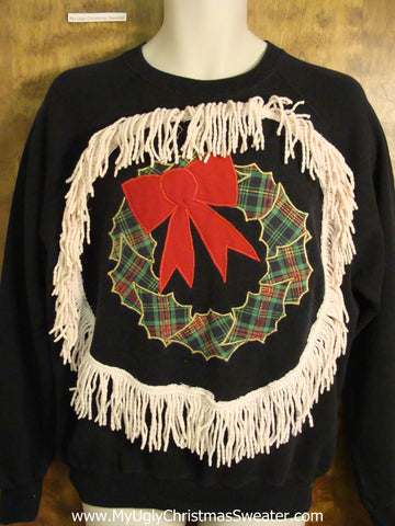 Plaid Wreath with a Red Bow Funny Christmas Sweatshirt