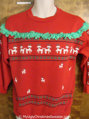 Tacky Christmas Sweatshirt with Reindeer and Green Fluffy Trimming