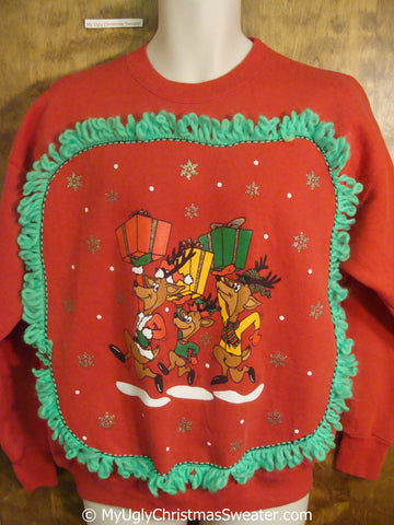 Reindeer Trio Carrying Gifts Tacky Christmas Sweatshirt