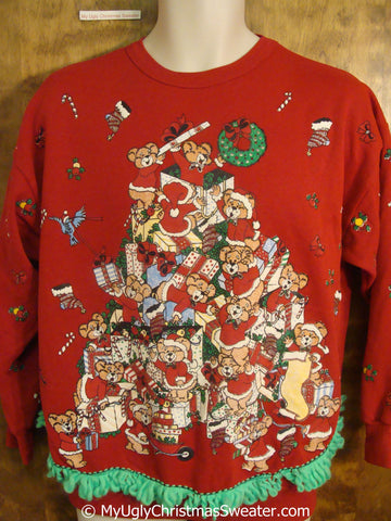 Teddy Bear Santa Pyramid 80s Tacky Christmas Sweatshirt