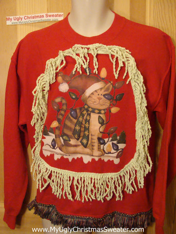 Ugly Christmas Tacky Sweatshirt Ridiculous Cat &  Fringe (q49)