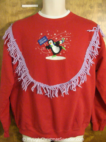 Skating Penguin LET IT SNOW Tacky Christmas Sweatshirt