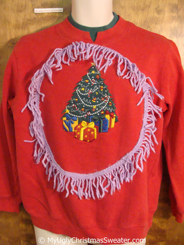 Tacky Christmas Sweatshirt with Colorful Tree and Fringe