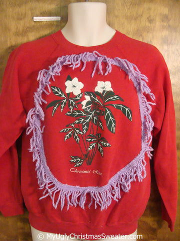 Christmas Rose with Fringe Tacky Christmas Sweatshirt