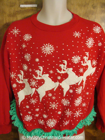 Rare and Fun 80s Reindeer Tacky Christmas Sweatshirt