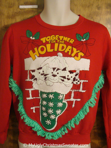 Cats Together For The Holidays Tacky Christmas Sweatshirt