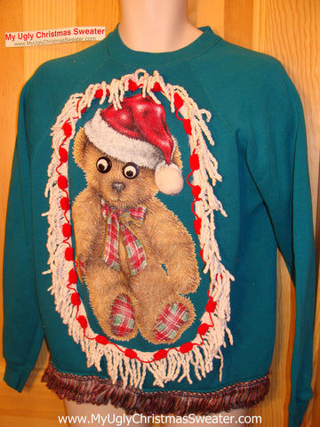Ugly Christmas Tacky Sweatshirt Google Eyed Bear with Fringe (q50)