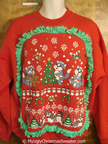 Cats Decorating in a Winter Wonderland Tacky Christmas Sweatshirt
