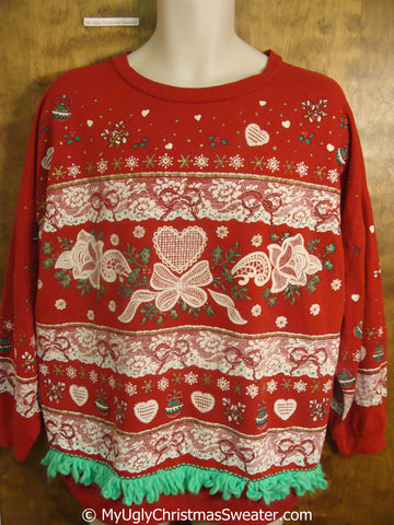 Seriously Tacky Red Christmas Sweatshirt with Lacy Hearts