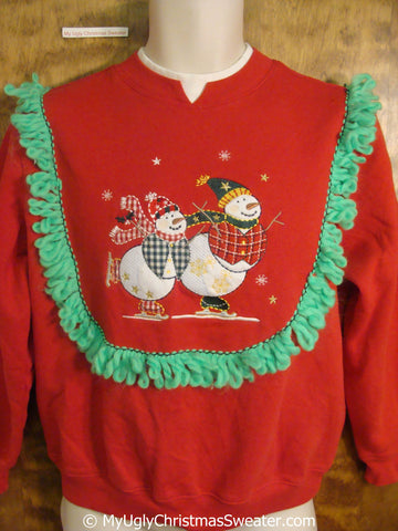Tacky Christmas Sweatshirt with Skating Snowmen