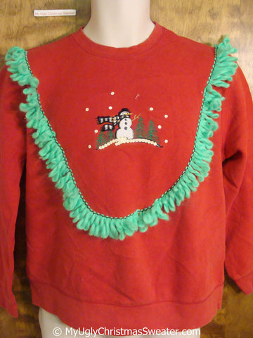 Windy Day Snowman with Sequins Tacky Christmas Sweatshirt