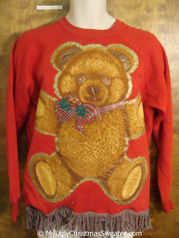 2sided Teddy Bear 80s Gem Tacky Christmas Sweatshirt