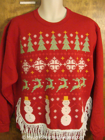 Nordic Reindeer and Snowmen Tacky Christmas Sweatshirt