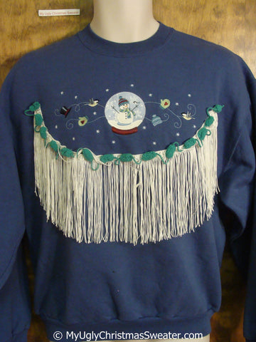 Snowglobe Snowman Tacky Christmas Sweatshirt with LONG Fringe