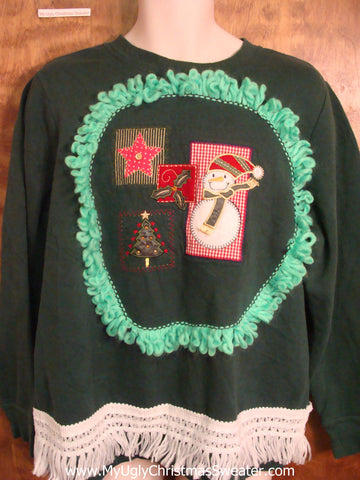 Crafty Snowman Tacky Christmas Sweatshirt