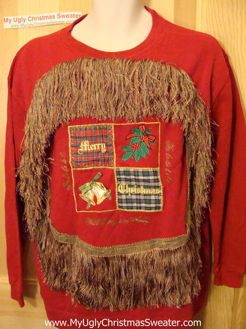 Ugly Christmas Tacky Sweatshirt Crafty Pattern with Massive Fringe (q52)