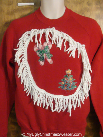 Home Crafted 80s Cheap Tacky Christmas Sweatshirt